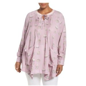 Melisa McCarthy 7 Seven Pintuck Nest Pocket top